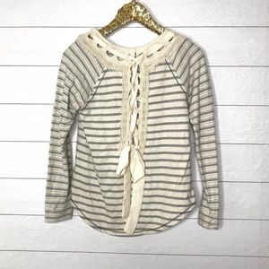 Altar'd State Ribbon Lace Up Striped Sweatshirt